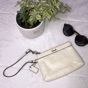 NWOT Coach White Leather Perforated Wristlet